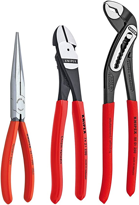 KNIPEX Needle-nose pliers Steel Plastic Red//Orange 20 cm 280 g for 13 86 200