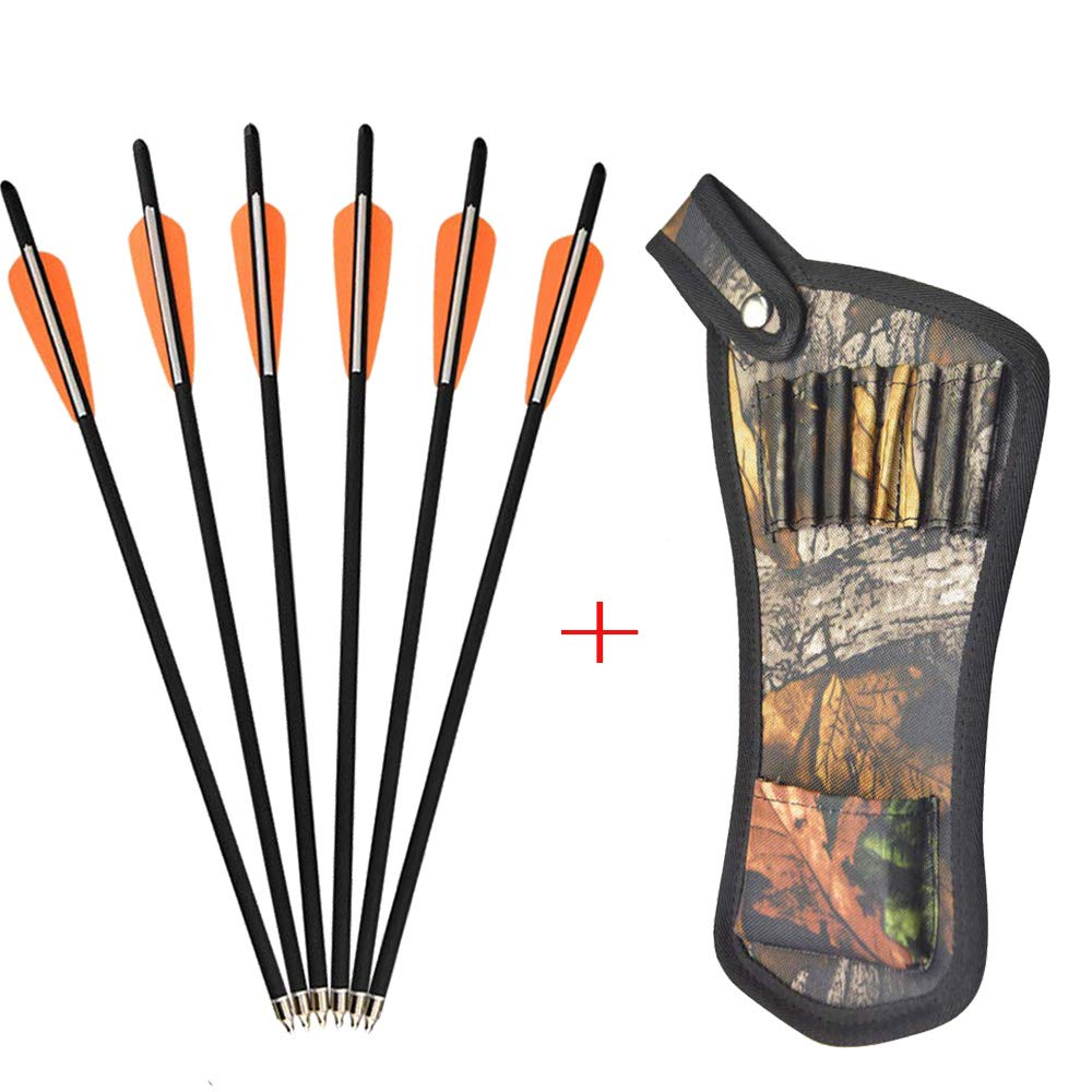 AMEYXGS 12pcs Crossbow Bolts Arrows Carbon Shafts Crossbow Arrows 16'' 17'' 18'' 20'' 22'' Hunting Practice Arrows with Arrow Quiver (Orange, 17inch) by AMEYXGS