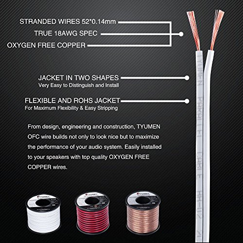 TYUMEN 18 AWG Gauge 2 Conductor Stranded 40 FT Roll Speaker Zip Wire Car Home Audio Cable, 99.95% Oxygen Free Copper Wires, White by Tyumen (Image #5)