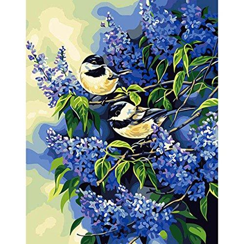 油絵 数字キット 手塗り デジタル油絵 DIY絵 数字油絵 数字キットによる 子供の塗り絵 家の装飾のギフト 2羽の鳥 40*50CMの商品画像