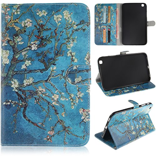 (SM-T310/T311 Case, Galaxy Tab 3 8.0 Case,Dteck(TM) Colorful Cartoon Flip Stand Case with Card Slots Full Body Protective Synthetic Leather Wallet Cover for Samsung Galaxy Tab 3 8.0(Pear Flower))