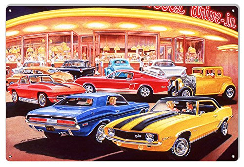 Classic Muscle Cars Reproduction Garage Shop Sign by Jack Schmitt12x18