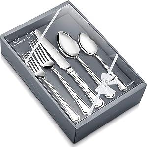 Silver Crown Elegance Pattern Cutlery Flatware Set, 20-Piece Stainless Steel Silverware Set, Service for 4, Mirror Polished
