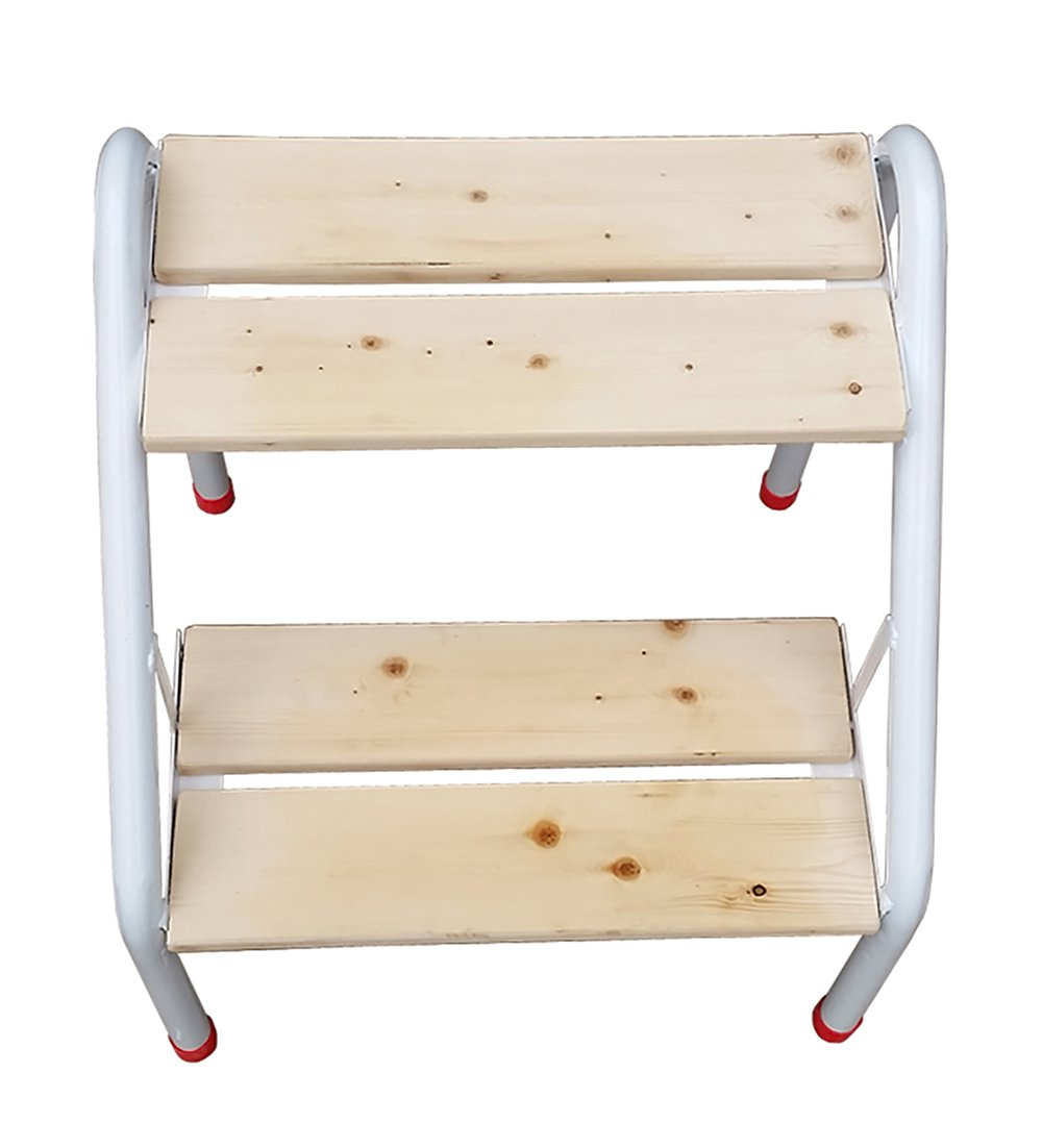 WUFENG Step stool Ironwood combination 2 step ladder Stair chair Natural color 40x46.5x46.5cm (Color : Natural wood color)