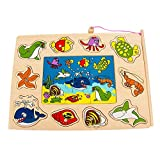 Creative Fishing Puzzle Game Jigsaw Game Toy Educational Toys Wooden Pegged Puzzle Children Play Set Toy Gift for Toddler Early Brain Training