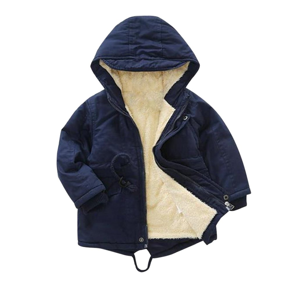 De feuilles Chic-Chic Boys Girls Winter Hooded Parka Coat Jacket Thick Warm Lining Outwear