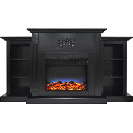 Electric Built In Bookshelf Fireplace With Multi Color LED