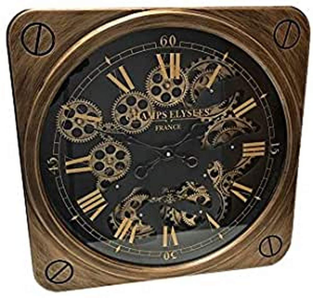 Sassy Home Copper & Black Square Moving Motion Gear Mechanical Champs Elysees Wall Clock, one Colour, 50 x 8 x 50cm