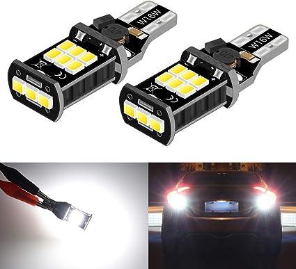 Lot de 2 Lampes Feux Recul Phare 912 921 T10 T15 W16W LED 1000 Lumens extr/êmement lumineux Canbus sans erreur 4014 45-SMD Chipsets Ampoules LED pour lampes inverse sauvegarde blanc x/énon 6000K