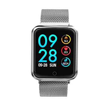 MRXUE Relojes Inteligentes Impermeable Monitor de Ritmo cardíaco para niños Mujeres Hombres Bluetooth podómetro para Android iOS Smartphone,Silver: ...
