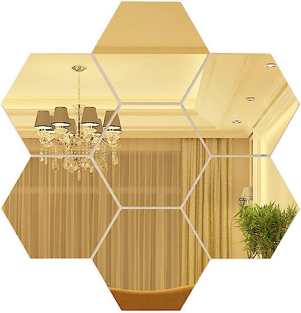 E EVENLIM 7.9''x6.7''x4'' Hexagon Gold Mirror Wall Sticker, 12 Pack Acrylic (Non Glass) Mirror Self Adhesive Mirror Tiles, Aesthetic Wall Decor for Bedroom Living Room
