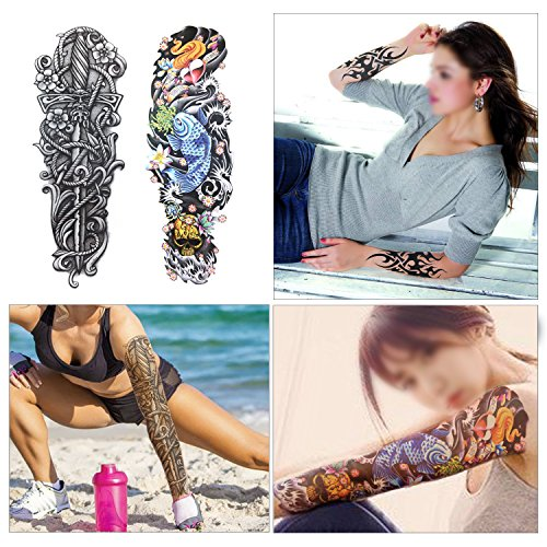 Full Arm Temporary Tattoo, Konsait Extra Temporary Tattoo Black tattoo Body Stickers for Man Women (18 Sheets) by Konsait (Image #5)