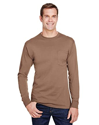 6654f1e2 Amazon.com: Hanes W120 Adult Workwear Long-Sleeve Pocket T-Shirt: Clothing