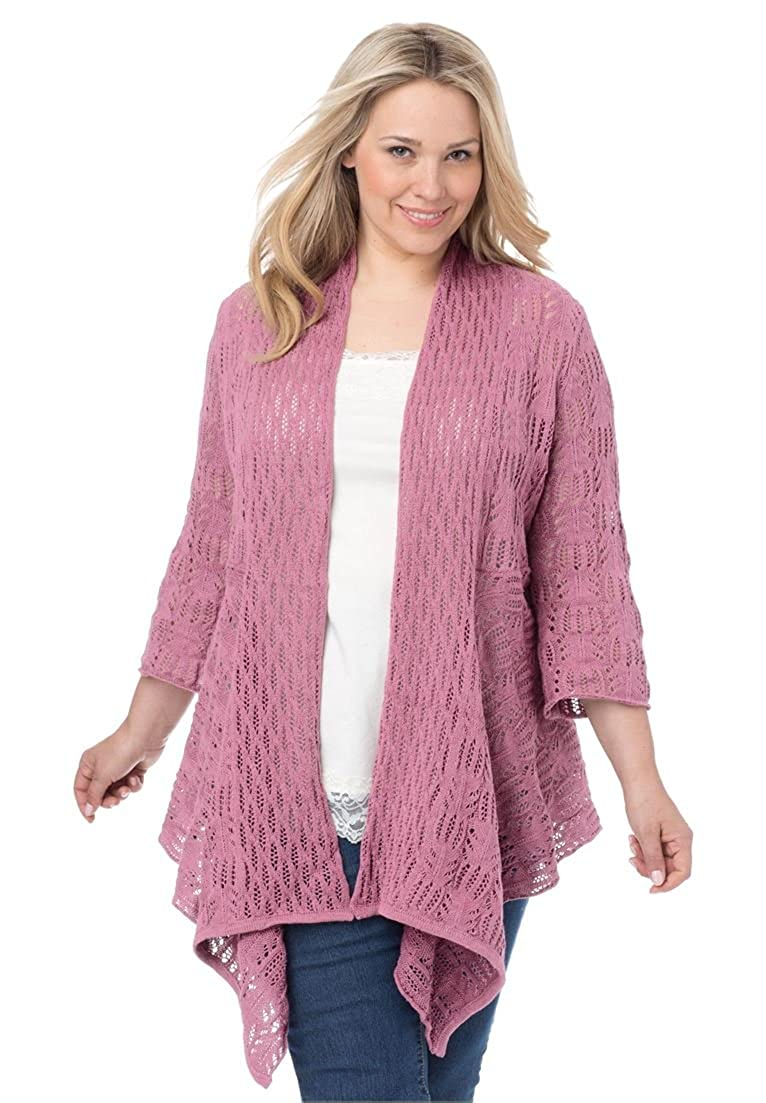 Women's Plus Size Open Front Pointelle Cardigan at Amazon Women's ...