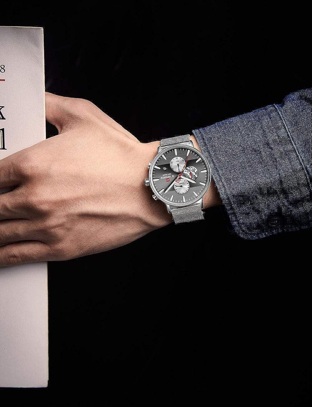 Montres Hommes,Montre De Sport Camouflée À Quartz Silver