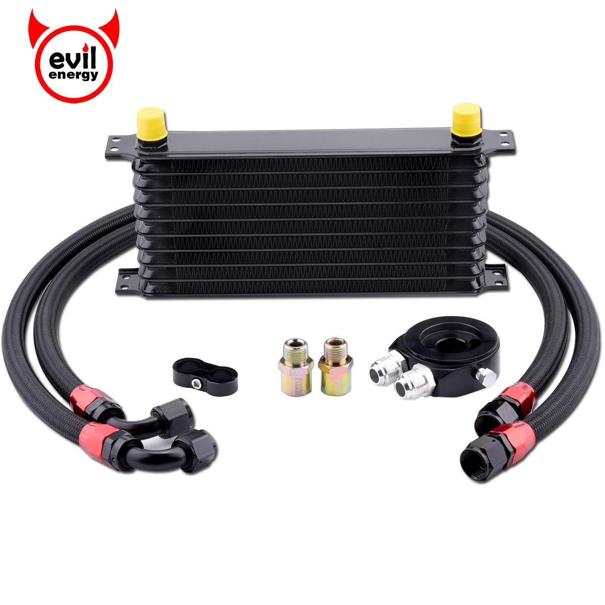 EVIL ENERGY 10 Row AN10-10AN Oil Cooler Kit Universal Engine Transmission Aluminium Alloy Black