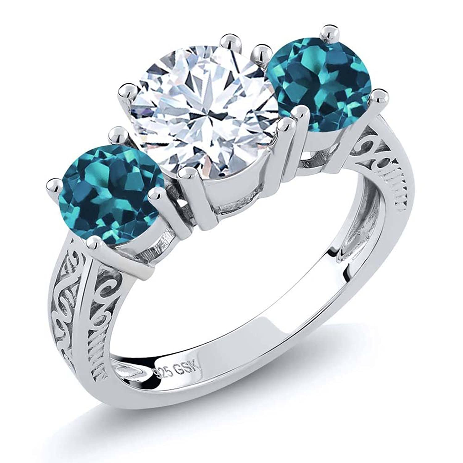 2.40 Ct Round White and London Blue Topaz Gemstone Birthstone 925 Sterling Silver 3-Stone Ring (Available in size 5, 6, 7, 8, 9)
