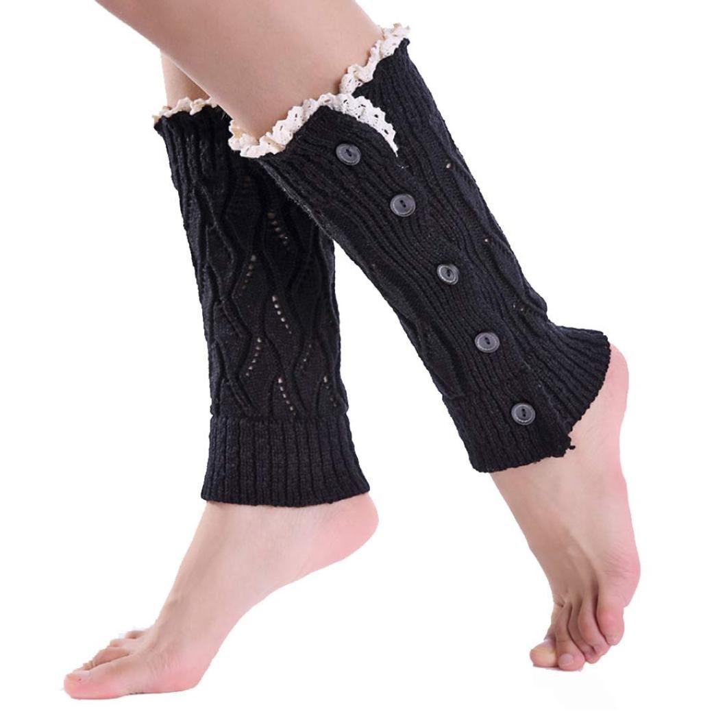 Malloom® Chica Invierno botón Calcetines Cortos Calentadores de la Pierna Cubierta de Arranque Beige Ropa especializada