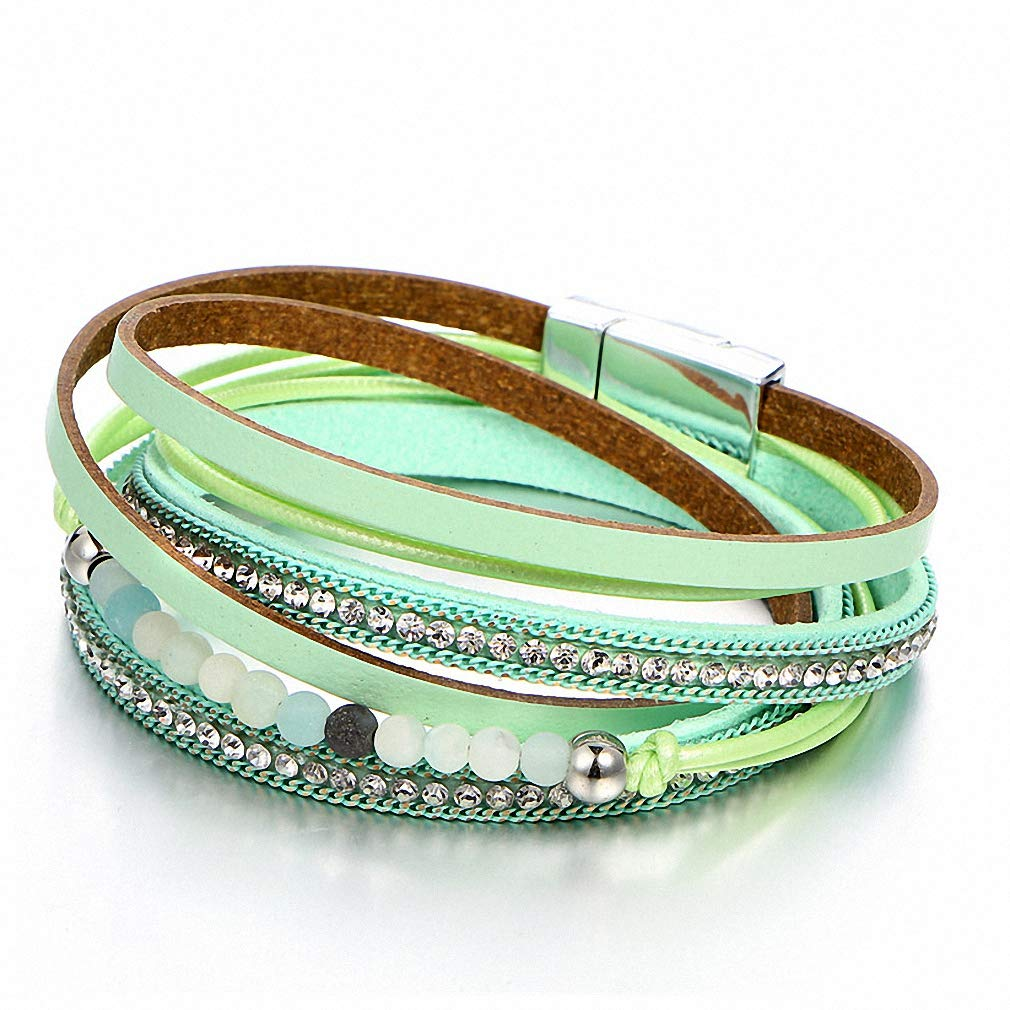 Hynsin Womens Bracelet Vintage Multiple Layers Leather Bracelets for Women Men New Simulated Pearl Fashion Charms Bracelet Femme Statement Jewelry