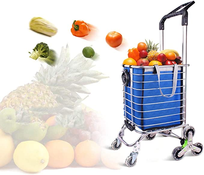 ZSLLO Grocery Shopping Cart Shopping Cart Trolley Pack Foldable Reusable Grocery Shopping Bag Eco-Supermarket Bag Easy to Use and Heavy Bolsas