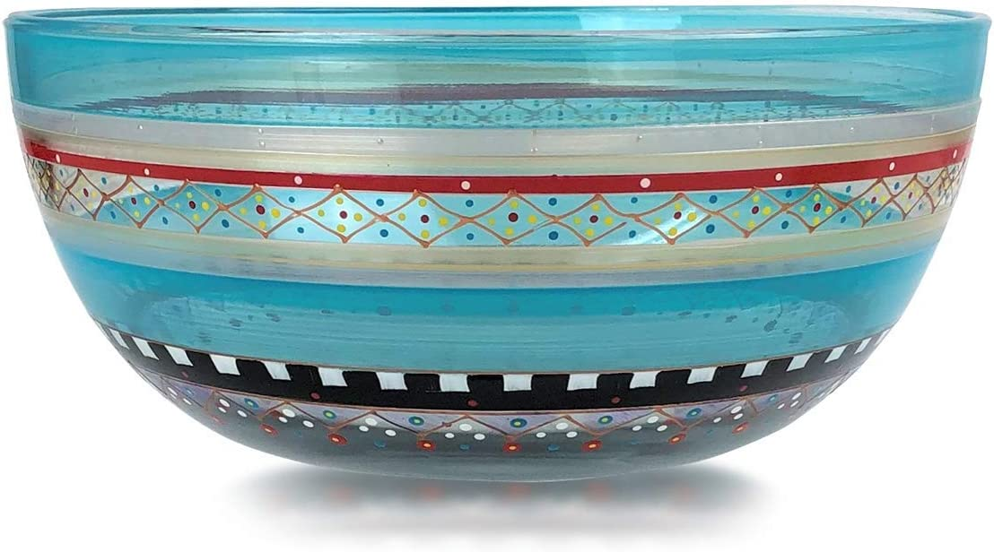 Golden Hill Studio Hand Painted Salad Serving Bowl - Moroccan Mosaic Carnival Collection - Hand Painted Glassware by USA Artists - Unique and Decorative Large Serving Bowl 11