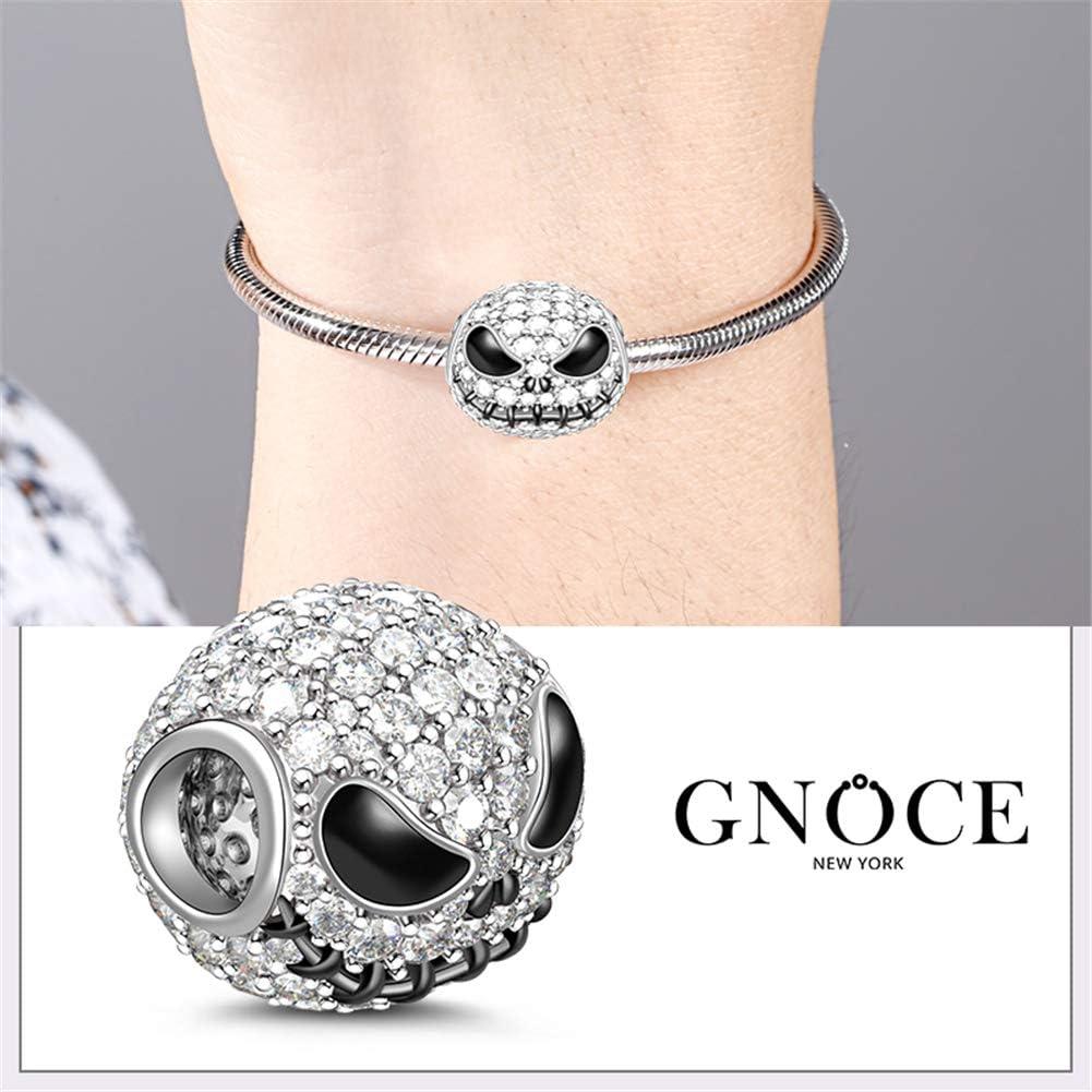 GNOCE Petit Monstre Charms Pendentifs Femme Homme Perles Noir Plaqu/é Argent Sterling S925 Breloques Perles avec Oxyde de Zirconium Compatible avec Bracelets et Colliers