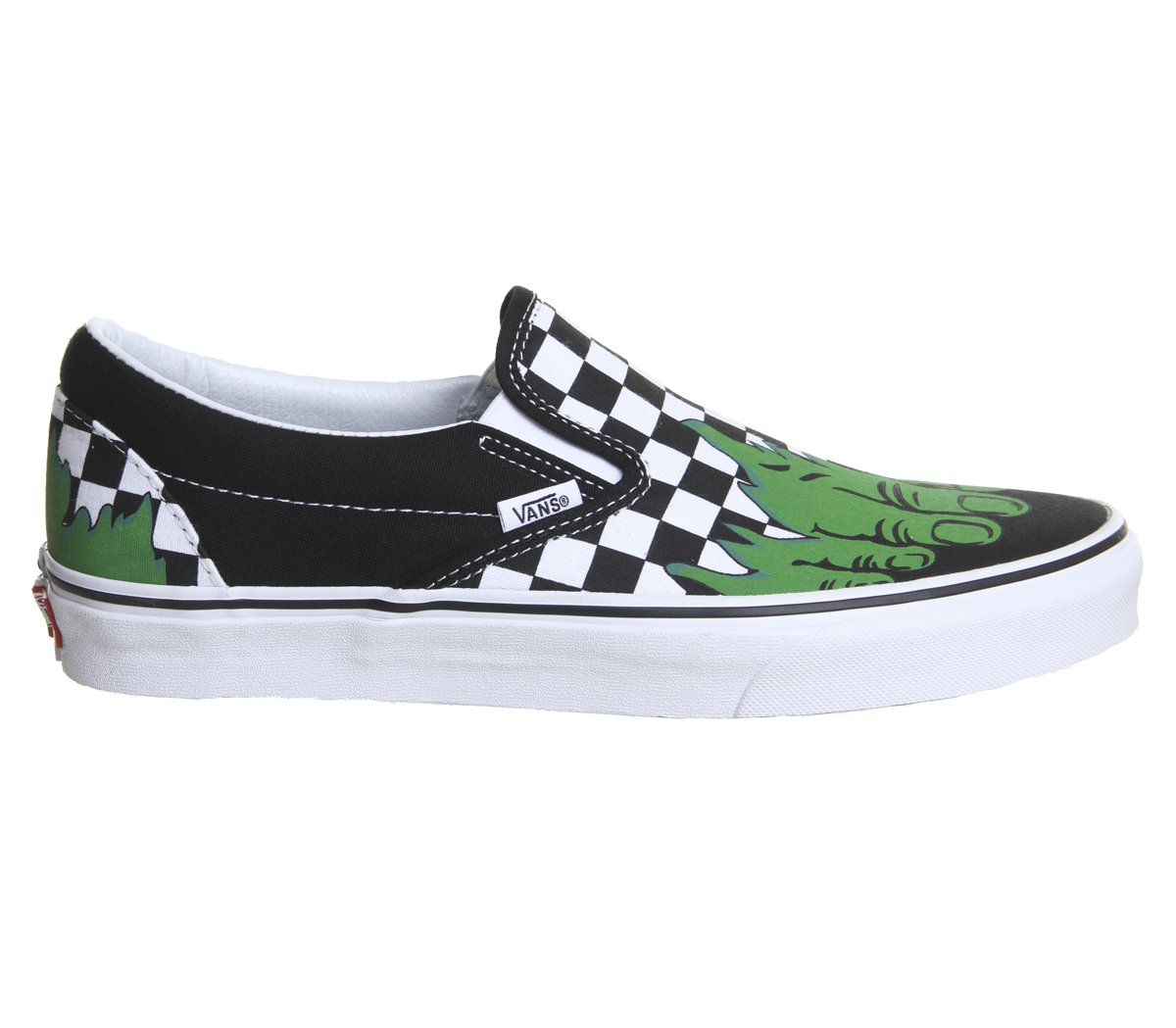 Vans Unisex Classic (Checkerboard) Slip-On Skate Shoe B077T6544P 13.5 B(M) US Women / 12 D(M) US Men|(Marvel) Hulk/Checkerboard