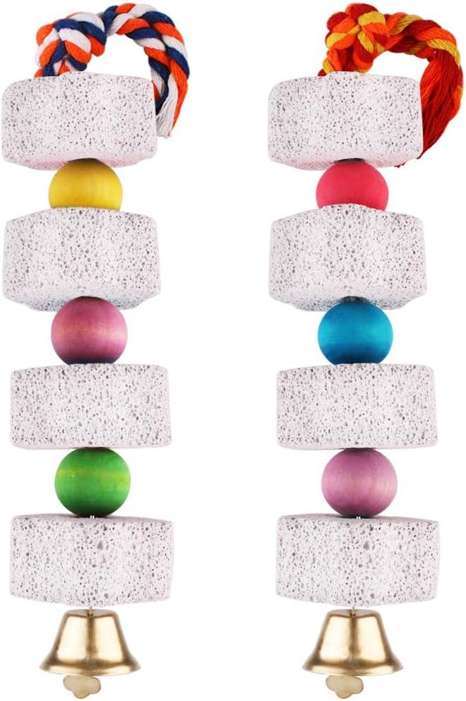 Unibene Parrot Chewing Toy, Bird Beak Grinding Stone with Bell, Lava Block Calcium Supplement Food for African Greys Amazon Conure Eclectus Budgies Parakeet Cockatiel Hamster Chinchilla Rabbit, 2 Pack