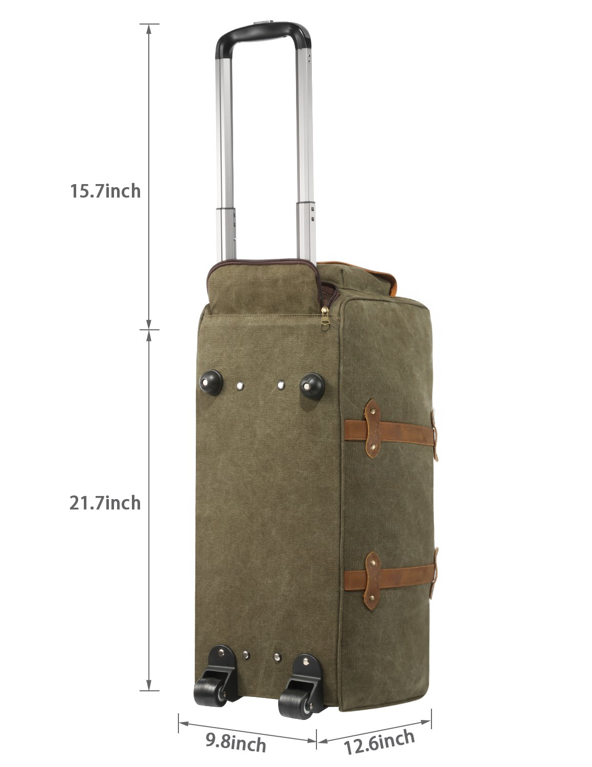 Kattee Rolling Duffle Bag with Wheels Canvas Travel Luggage Duffel Bag 50L (Army Green) by Kattee (Image #3)