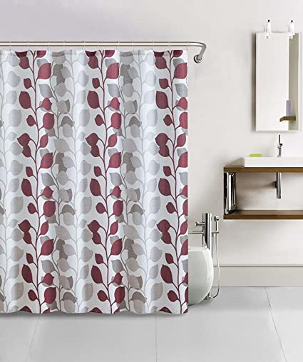 13 Piece Tropical Leaf Green White Red Bathroom Fabric Shower Curtain Hooks