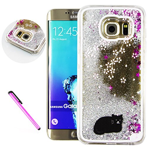 Galaxy S6 Case Samsung Galaxy S6 Case for Girls EMAXELER 3D Creative Design Angel Girl Flowing Liquid Floating Bling Shiny Liquid PC Hard Case for Samsung Galaxy S6 Silver Black Cat
