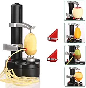 YOUDirect Electric Potato Peeler, Automatic Apple Peeler Machine, Heavy Duty Stainless Steel Rotating Peeler with 2 Extra Blades for Kitchen Fruits and Vegetables