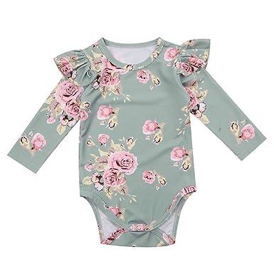 Wang-RX Lindo bebé recién Nacido niña Floral Mameluco del Volante ...