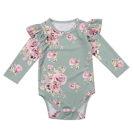 Wang-RX Lindo bebé recién Nacido niña Floral Mameluco del ...