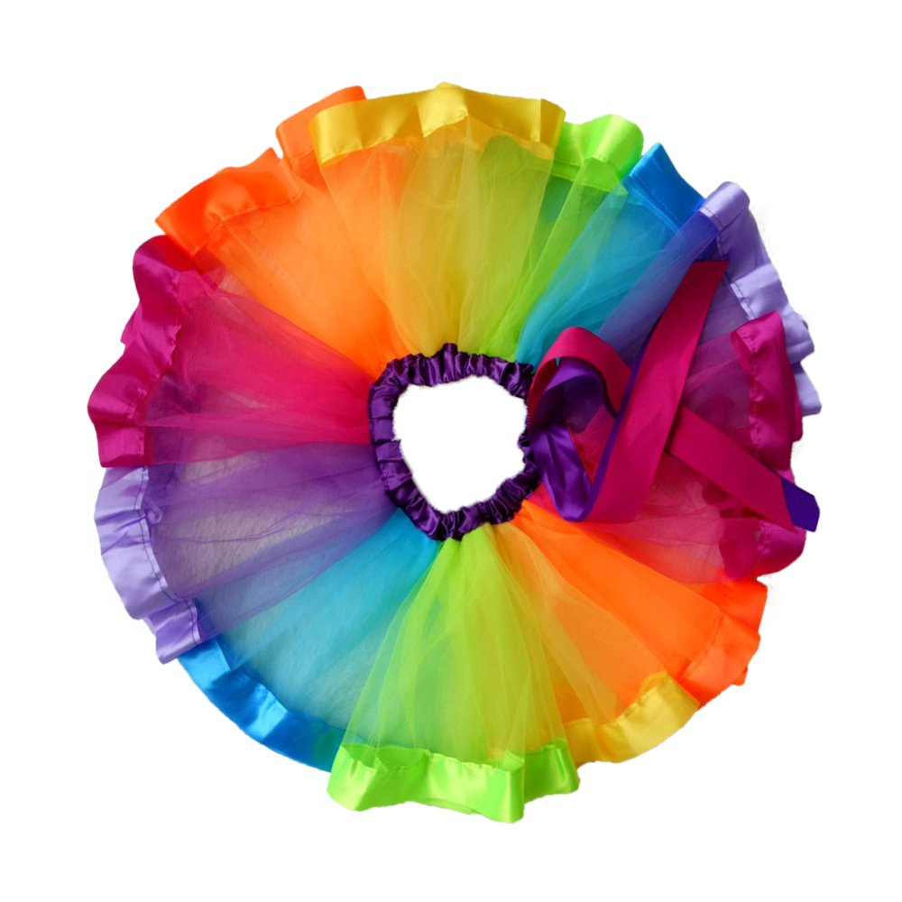 iFergoo Rainbow Tutu Skirt Layered Ballet Tullet Dance Dress for Toddler Baby Girls Dress Up, Bonus 10pcs Hair Ties