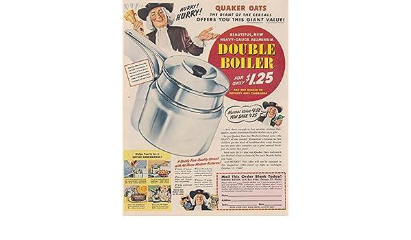 Amazon.com: 1948 Quaker Oats: Double Boiler, Quaker Oats Print Ad ...