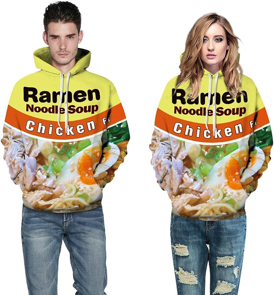 STORTO Couple Instant Noodle Bucket 3D Print Hoodie Sweatshirt Casual Drawstring Pullover Tops