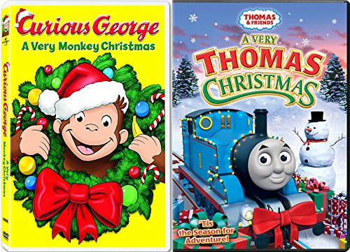 Curious George A Very Monkey Christmas & Thomas the Train The Christmas Engines Double Feature Animated cartoon Holiday 2-pack (Carol Ducktales Christmas)