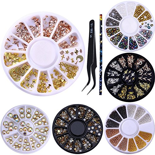 NICOLE DIARY 6 Boxes 3D Nail Art Rivet Rhinestones for sale  Delivered anywhere in USA