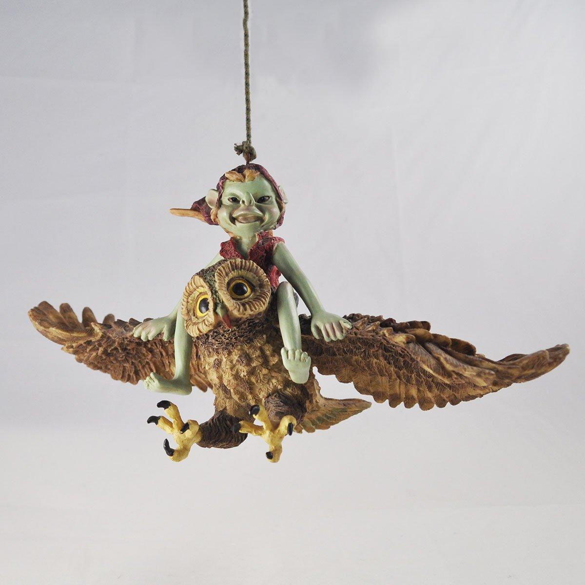 ornamento Colgante jard/ín verde de la decoraci/ón del hogar de la estatuilla Anthony Fisher Quirky Pixie colgando de la cuerda
