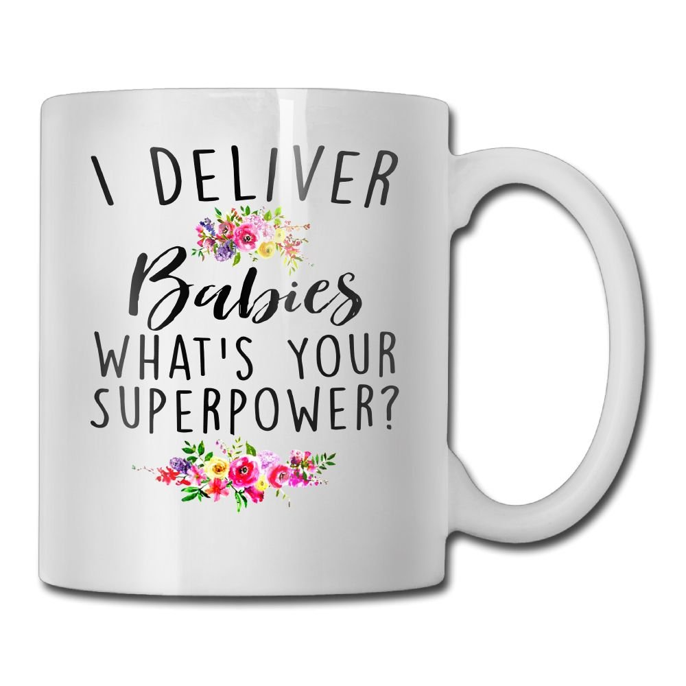 Waldeal I Deliver Babies What's Your Superpower, Midwife Gift, Home Birth Coffee Mug, OBGYN Tea Cup for Delivery Nurse, OB Doctor, 11 OZ White