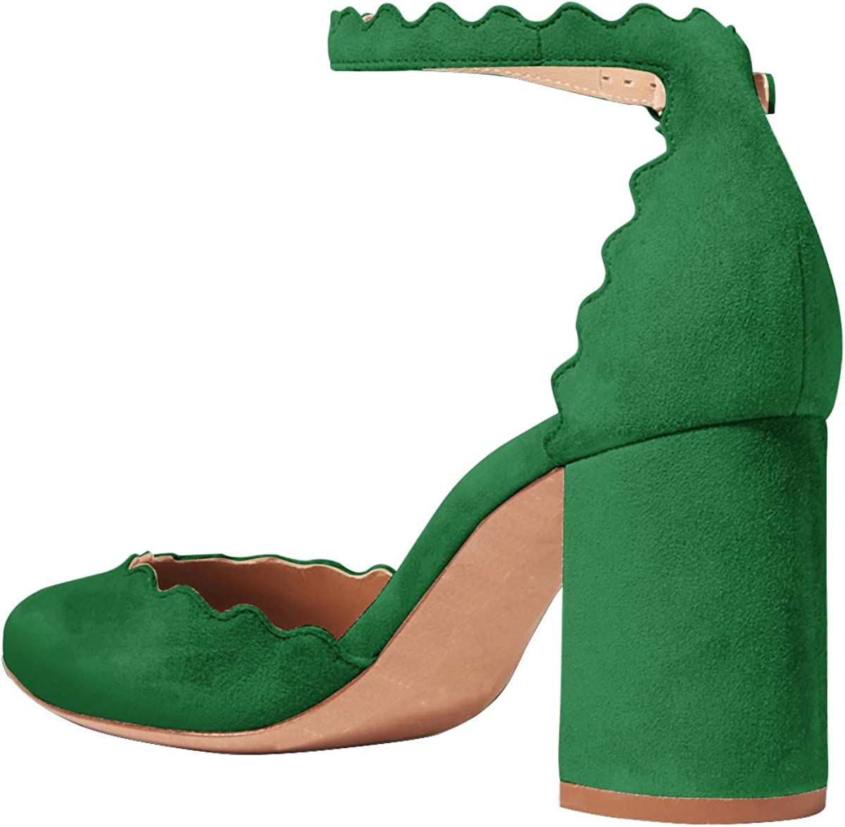 FSJ Women Comfortable Ankle Strap Pumps Block Chunky Heels Round Toe DOrsay Shoes Size 4-15 US