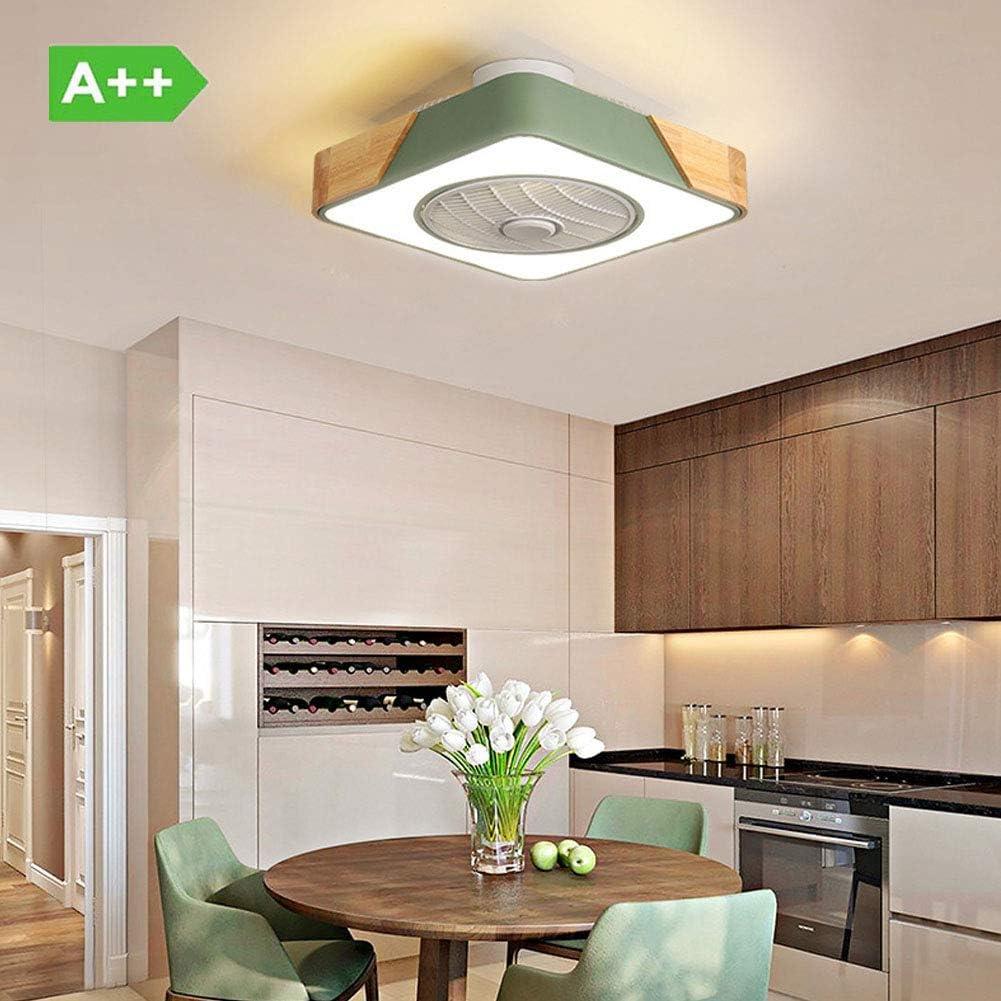 Ventilador de Techo Invisible Plafón LED de Madera, Ventiladores para el Techo con Lámpara, 47W Luz de Ventilador de Habitación Infantil Iluminación Lámparas de Techo para Salón/Dormitorio/Estudio