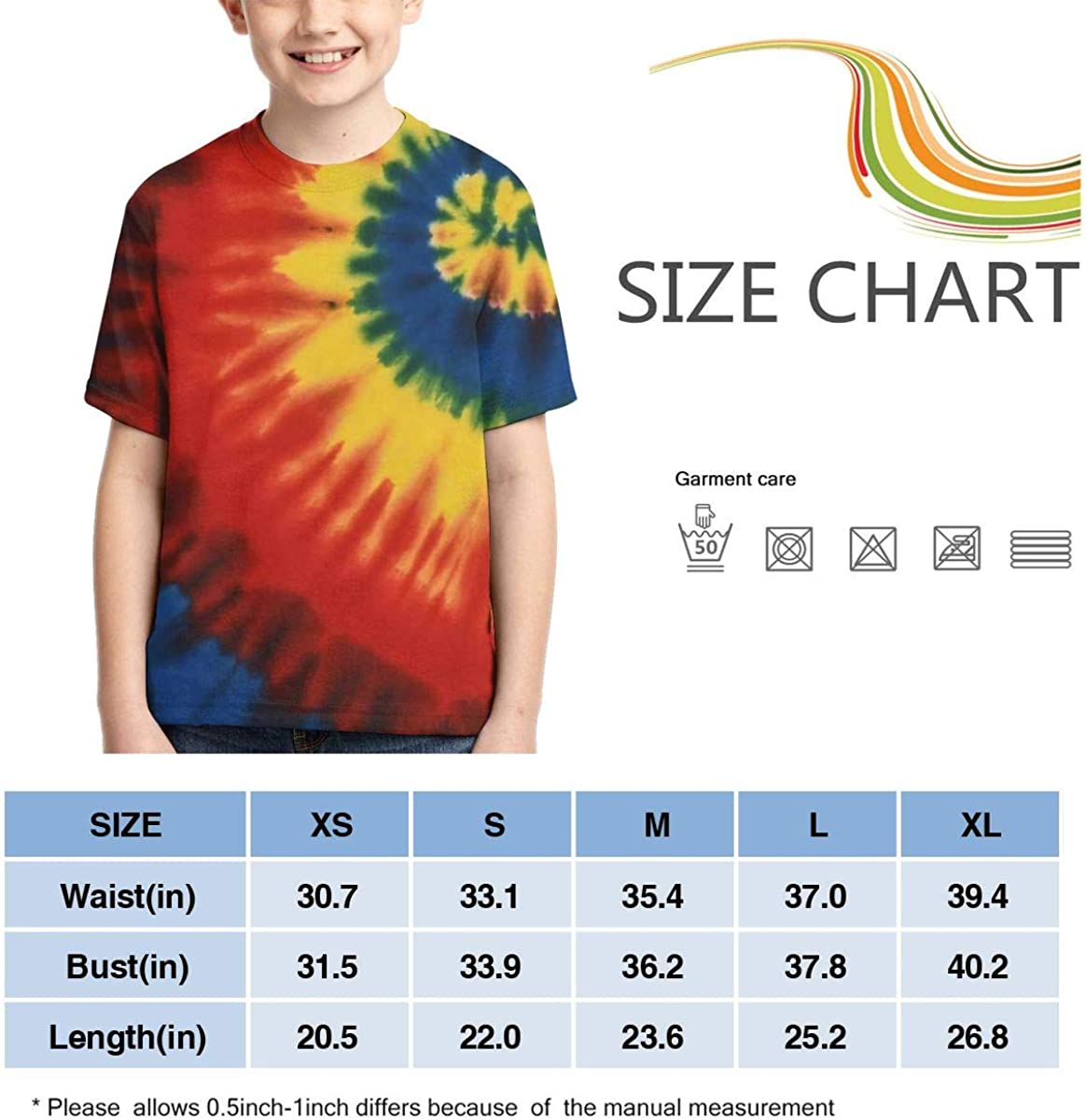AMODECO Tie-Dye 3D Printed Tee T-Shirt for Youth Teenager Boys Girls