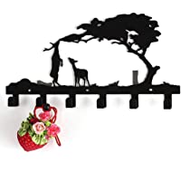 McDoo! Coat Hook Rack - Heavy Duty Wall Mounted Hanger Clothes Hook with 6 Hooks - Decorative Wall Hooks Rail for Living Room Kitchen Bathroom, Storage for Jackets Hats Robes Towels Keys