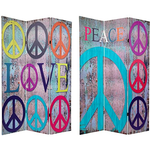 Oriental Furniture 6 ft. Tall Double Sided Multi-Color Peace & Love Room Divider