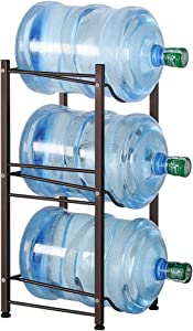 Water Cooler Jug Rack 3-Tier Water Bottle Storage Rack 5 Gallon Jugs Water Detachable Heavy Duty Water Bottle Holder Shelf Save Spacer Easy to Assemble for Home Office Organization Copper Bronze
