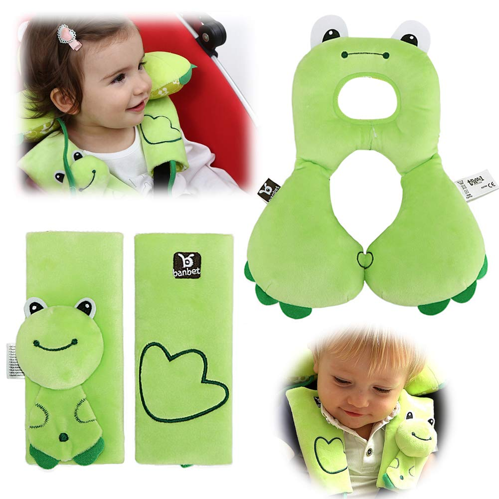 Car Seat Strap Covers & Head Support Pillow,6-12 Months Baby Neck Pillow and Infant Seat Belt Cover,Head Neck Cushion Pillow and Shoulder Cushion Pad for Toddler Baby Carseat or Stroller (Green) by OBloved