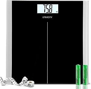 Pèse Personne Électronique, Balance Pèse Personne, Mètre à ruban, Auto On/Off, Capteurs de Haute Précision,180kg/400lb, Verre Trempée, Grand LCD Rétroéclairé, 2 Piles AAA, Design Mince, Noir