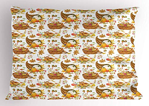 - K0k2t0 Thanksgiving Pillow Sham, Autumn Seasonal Baskets with Pumpkin Fruits Nuts Herbs and Chicken, Decorative Standard Queen Size Printed Pillowcase, 30 X 20 inches, Orange Light Brown Red